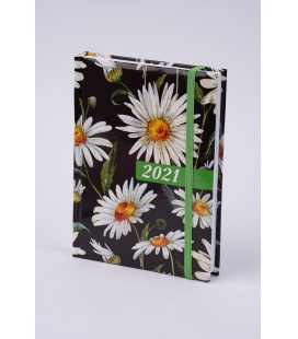 "Weekly Diary B6 ""LAMINO"" tištěný a laminovaný potah ""Kopretiny"" s gumičkou 2021"