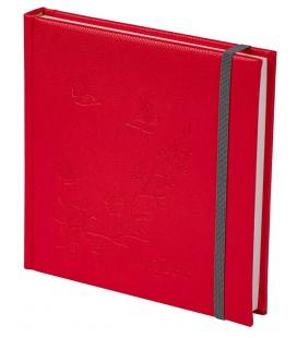 Notepad 4Q with rubber band Diario/ražba Motýlci red, grey 2021