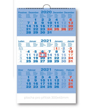 Wall calendar 3monthly working - blue  2021
