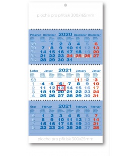 Wall calendar 3monthly working fluted - spiral - blue  2021