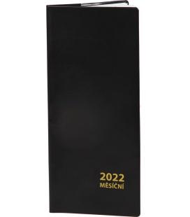 Pocket diary monthly PVC - black 2022