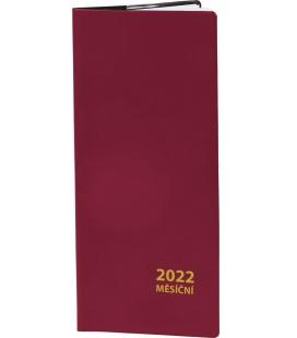 Pocket diary monthly PVC - bordo 2022