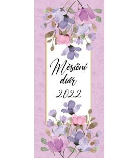 Pocket diary monthly lamino - Purple flowers 2022