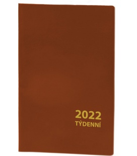 Pocket diary fortnightly PVC - brown 2022