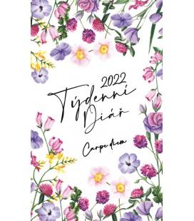 Pocket diary fortnightly lamino - Květiny - Carpe diem 2022