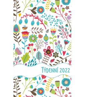Pocket diary fortnightly lamino - Květy 2022