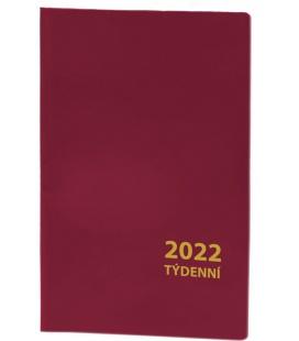 Pocket diary fortnightly PVC - bordo 2022