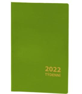 Pocket diary fortnightly PVC - green 2022