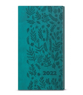 Weekly Pocket Diary - Jakub - vivella s ražbou  turquoise - Louka 2022