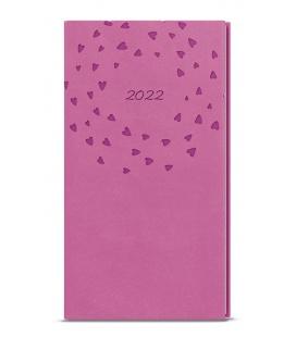 Weekly Pocket Diary - Jakub - vivella s ražbou pink - Srdíčka 2022