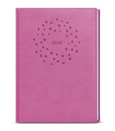 Daily Diary B6 - Adam - vivella s ražbou pink - Srdíčka 2022