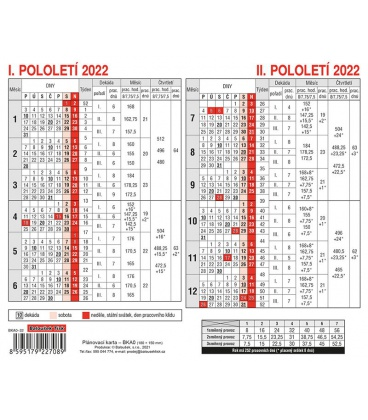 Table calendar Plánovací karta 2022