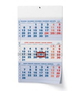 Wall calendar Tříměsíční - A3 (s mezinárodními svátky) - modrý 2022
