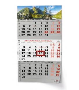 Wall calendar Tříměsíční - A3 (s mezinárodními svátky) - černý - Příroda 2022