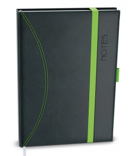 Notepad lined with a pocket A6 - nero black, green 2022