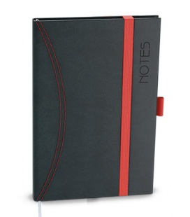 Notepad lined with a pocket A6 - nero black, red 2022