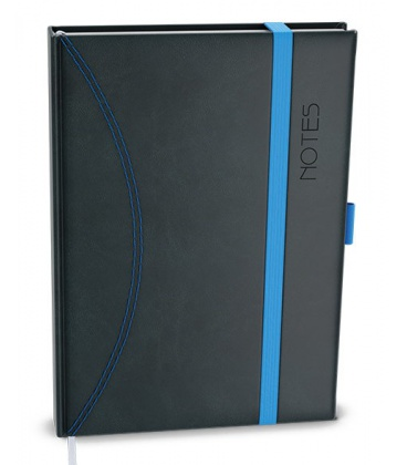 Notepad lined with a pocket A6 - nero black, blue 2022