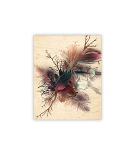 Wall calendar - Wooden picture - Feathers 2022