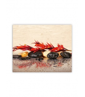 Wall calendar - Wooden picture - Red Flower 2022