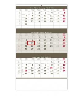Wall calendar Grey 3 monthly / Tříměsíční šedý 2022