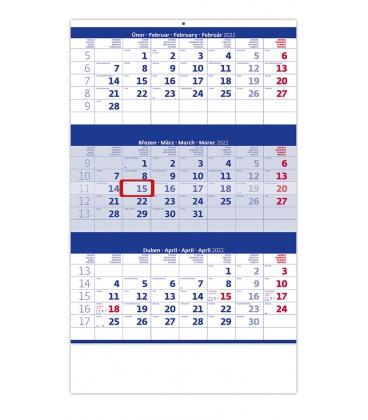 Wall calendar Blue 3 monthly / Tříměsíční modrý 2022