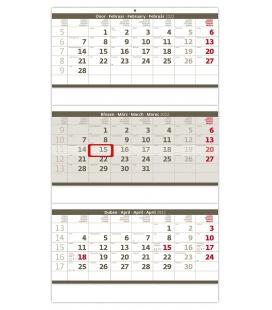 Wall calendar Grey 3 monthly - folded / Tříměsíční skládaný šedý 2022