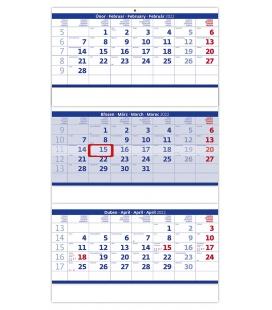 Wall calendar Blue 3 monthly - folded / Tříměsíční skládaný modrý 2022