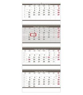 Wall calendar Grey 4 monthly - folded  / Čtyřměsíční skládaný šedý 2022