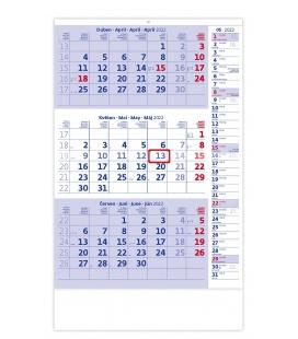 Wall calendar  Blue 3 monthly with notes / Tříměsíční modrý s poznámkami 2022