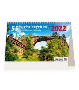 Table calendar 55 turistických nej Čech, Moravy a Slezska 2022