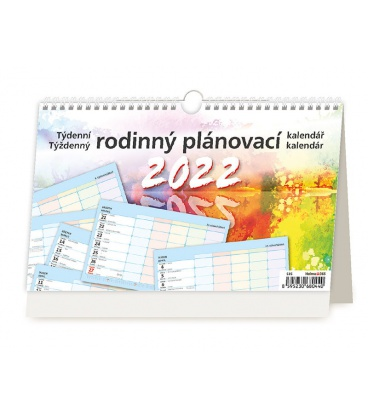 Table calendar Týdenní rodinný plánovací kalendář s háčkem 2022