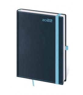 Daily Diary A5 Double Blue s poutkem na propisku blue 2022
