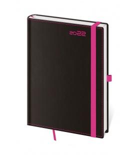 Daily Diary A5 Black Pink s poutkem na propisku black, pink 2022