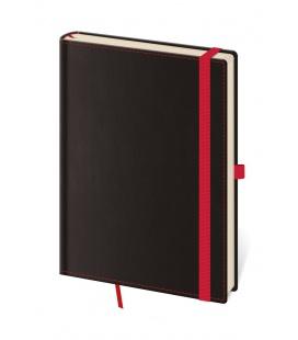 Notepad - Zápisník Black Red - dotted M black, red 2022