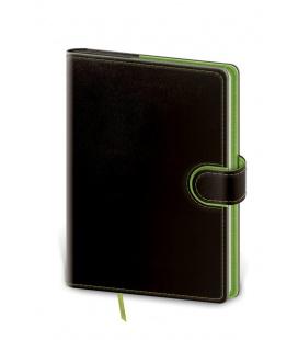 Notepad - Zápisník Flip B6 lined black, green 2022