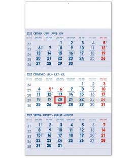 Wall calendar 3months Standard blue with Czech names 2022