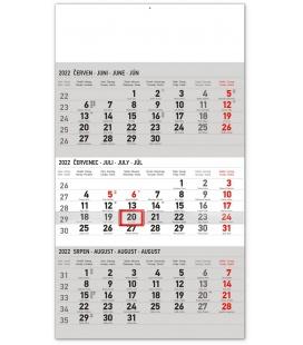 Wall calendar 3months Standard grey with Czech names 2022