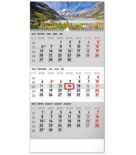 Wall calendar 3months Landscape grey with Czech names 2022