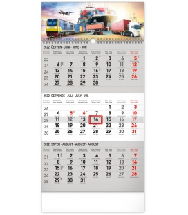 Wall calendar 3months Spedition grey with Czech names 2022