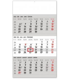 Wall calendar 3months Standard grey with Slovak names 2022