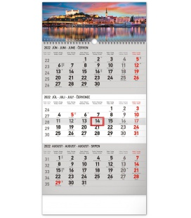 Wall calendar 3months Bratislava grey with Slovak names 2022
