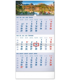Wall calendar 3months Tatras blue with Slovak names 2022