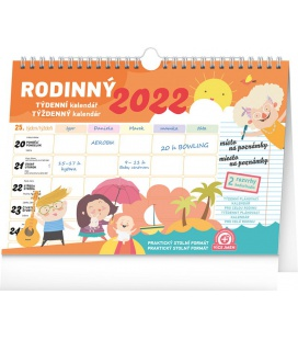 Table calendar Weekly family planner with hook 2022
