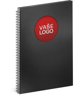 Notebook A4 Twin black, red, lined 2022