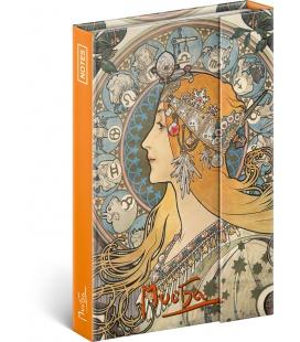 Notebook pocket magnetic Alphonse Mucha – Zodiac, lined 2022
