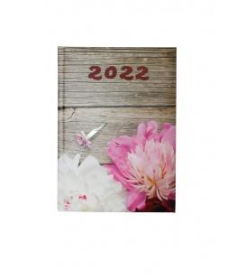 Daily Diary B6 LAMINO tištěný a laminovaný potah Pivoňky 2022