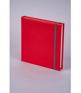 Notepad 4Q with rubber band Diario/ražba Motýlci red, grey 2022