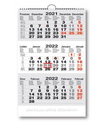Wall calendar 3monthly working  - grey  2022