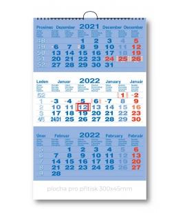 Wall calendar 3monthly working - blue  2022