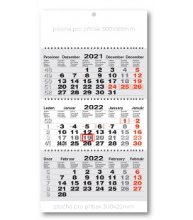 Wall calendar 3monthly working fluted - spiral - grey  2022